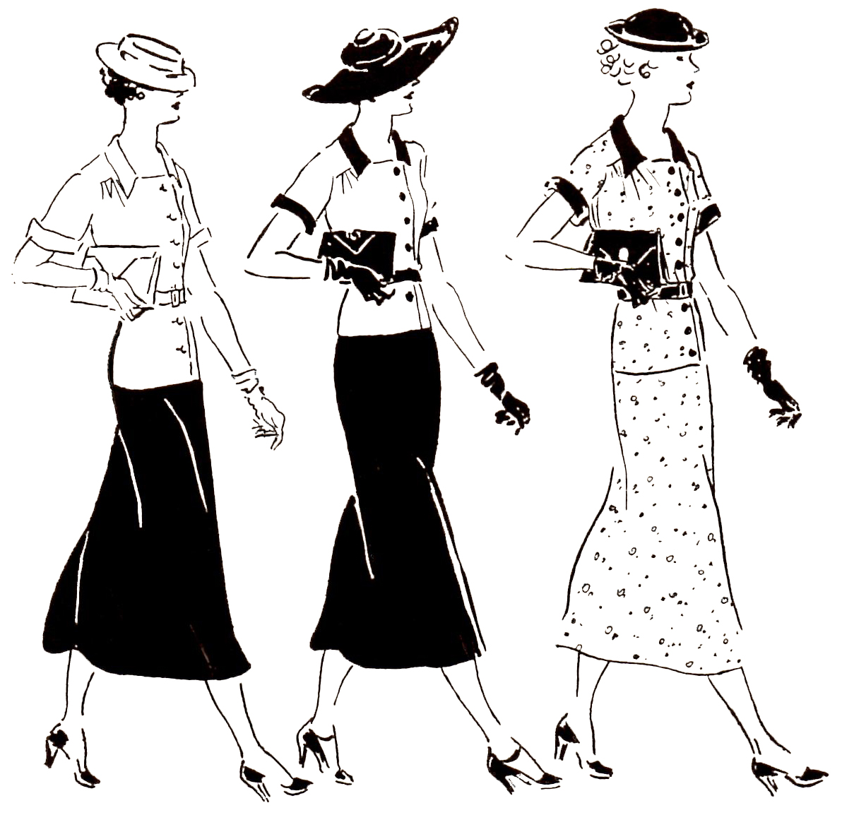 vintage 1932 three women dressed to the nines daytime edited